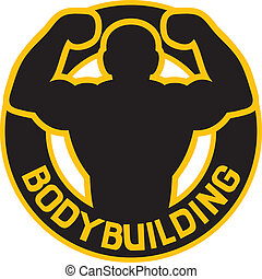 bodybuilding badge bodybuilding symbol, bodybuilding label