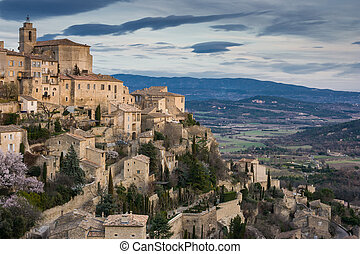 Sunset in Gordes - Sunset on a winters day in Gordes,...