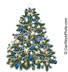 Christmas tree decorated by balls on white - Vector...