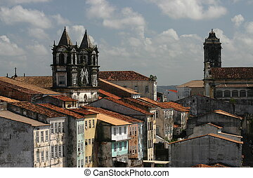 Pelourinho roofscape, Brazil - Roof level view of Pelourinho...