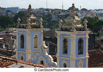 Church, Salvador de Bahia, Brazil - Rooftop view of the bell...