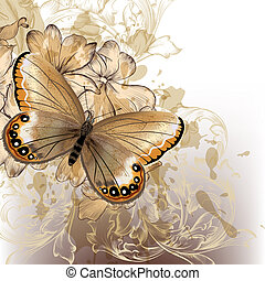 Cute stylish floral background with butterfly - Vector...