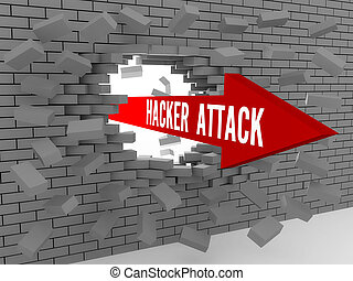 Arrow with words Hacker Attack breaking brick wall Concept...