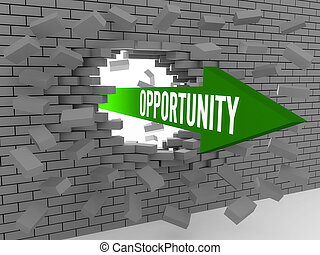 Arrow with word Opportunity breaking brick wall Concept 3D...