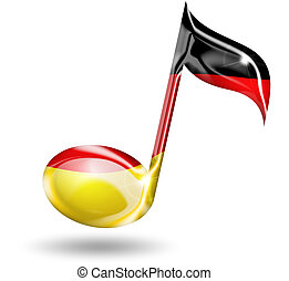 German music - musical note with German flag colors