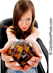 top view of sitting woman showing Christal ball against...