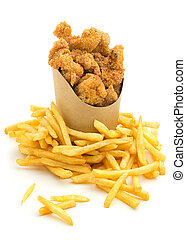 take-out food - chicken nuggets and french fries on white...