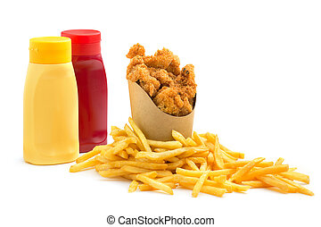 chicken nuggets, fries and condiments