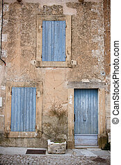 Provencal Doors - A building frontage in Gordes, Provence,...