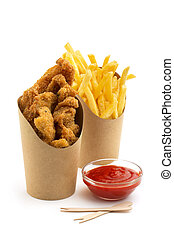 fried chicken and french fries - deep fried chicken, fries...