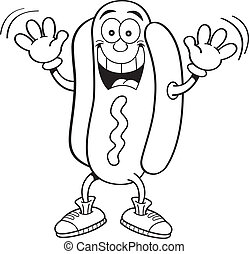 Cartoon hotdog waving - Black and white illustration of a...
