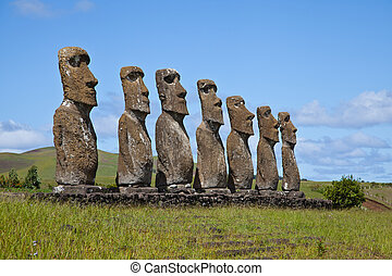 Easter Island Statues - Landscape view of the Easter Island...
