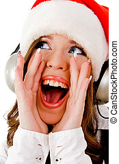 front view of shouting woman wearing headphone on an...