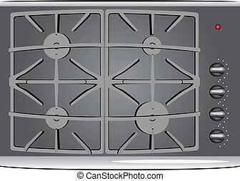 Gas stove - The working surface of a gas stove. Vector...
