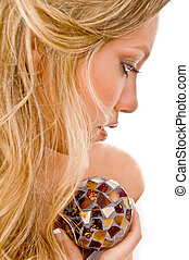 close view of glamorous model with Christal ball with white...