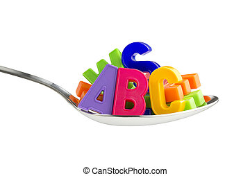 food for thought - colorful letters in a tablespoon on white...