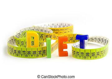 get in shape - diet word made of colorful letters and...