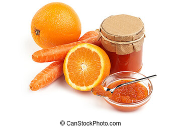 orange and carrot jam on white background