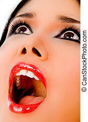 close view of shouting woman looking up on an isolated white...