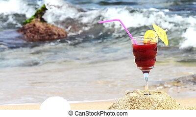 Cocktail on Beach - Fruit cocktail on the tropical beach