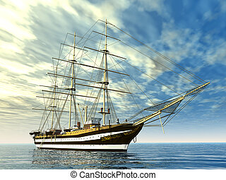 Sailing Ship - Computer generated 3D illustration with a...