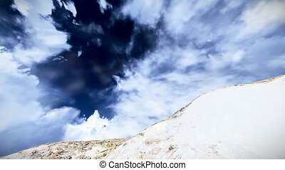 Climbing snowy mountain