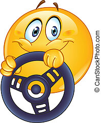 Driving emoticon holding a steering wheel