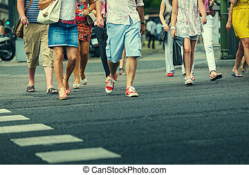 People Crossing the Street in Gran Via, Madrid
