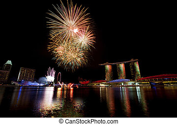 Singapore Fireworks - Fireworks over Marina bay in Singapore