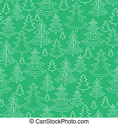 Doodle Christmas trees seamless pattern background - Vector...