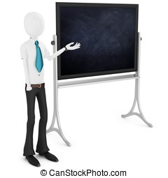 3d man teacher with blackboard on white background