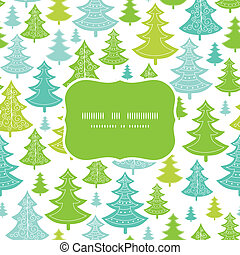 Holiday Christmas trees frame seamless pattern background