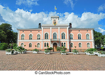 Loviisa, Finland. Town Hall - Loviisa, Finland. Historic...