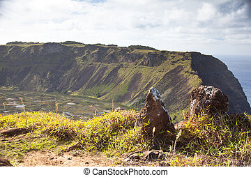 Dramatic Volcano crater near Orongo vilage, Easter Island,...