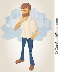 Thinking man illustration - Young man in the city scratching...