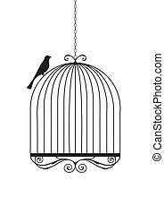 Birdcage - Bird and birdcage vector illustration.