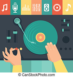 Vector turntable and dj hands - music concept in flat retro...