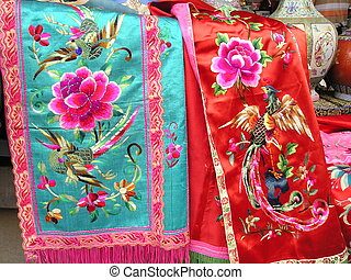 Antique Chinese silk embroidery on silk cloth. Antique...