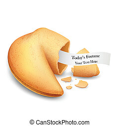 Fortune Cookie - illustration of cracked fortune cookie with...