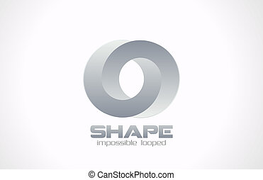 Logo fashion jewelry impossible looped shape. Vector.