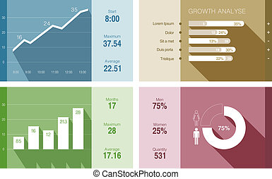 Infographics vector flat design Financial Business report -...