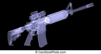 American rifle. X-ray render on black background