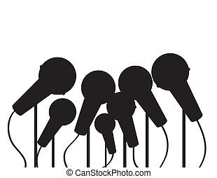 microfones, múltiplo, silueta