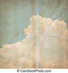 Vintage blue sky and white cloud background