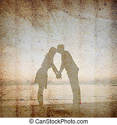 Vintage background of man is kissing his lover at her...