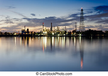 Landscape of river and oil refinery factory between sun rise time in, Bangkok, Thailand