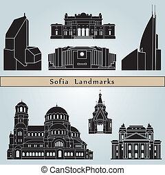 Sofia landmarks and monuments isolated on blue background in...