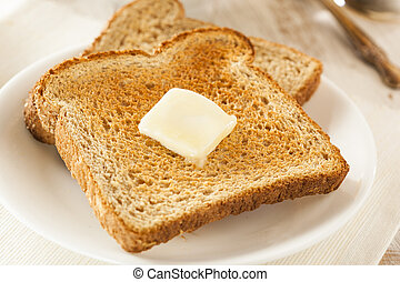 Whole Wheat Buttered Toast at Breakfast Time