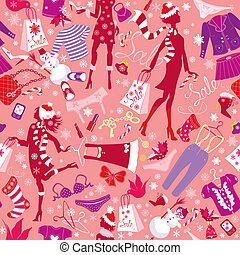 Seamless pattern in pink colors - Silhouettes of fashionable...