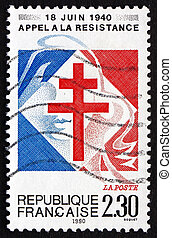 Postage stamp France 1990 Lorraine Cross - FRANCE - CIRCA...